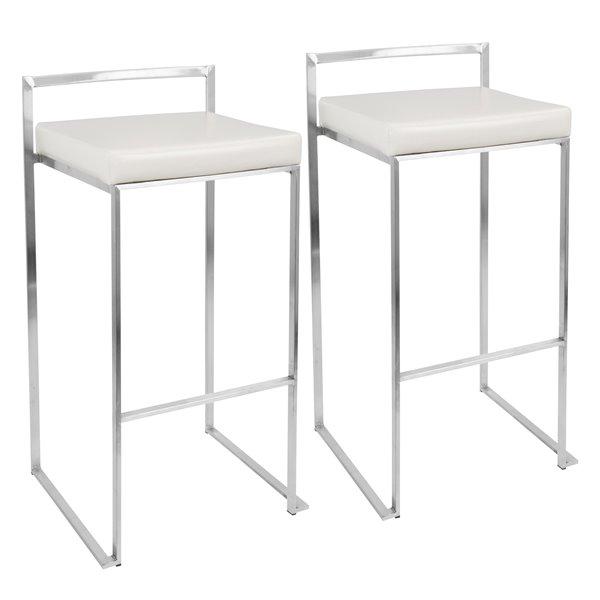 Fuji Stacker Barstool Chrome And White Set Of 2