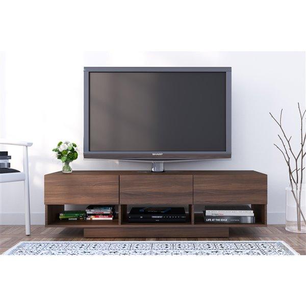 Nexera Rustik 60-in Walnut 3-Drawer TV Stand