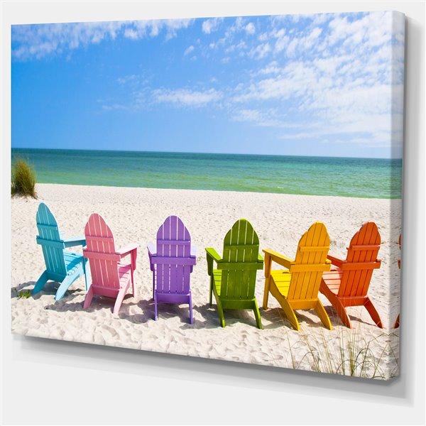 Designart Canada Adirondack Beach Chairs 30-in x 40-in Canvas Wall Art