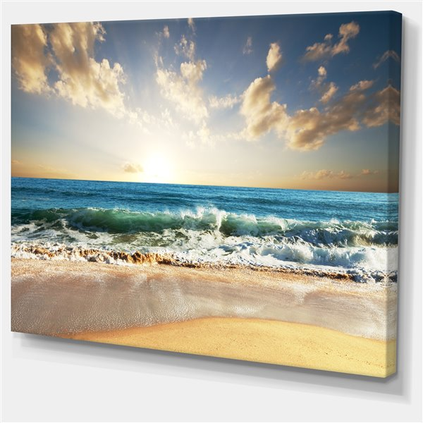 Designart Canada Blue Sea 40-in x 30-in Canvas Print Wall Art