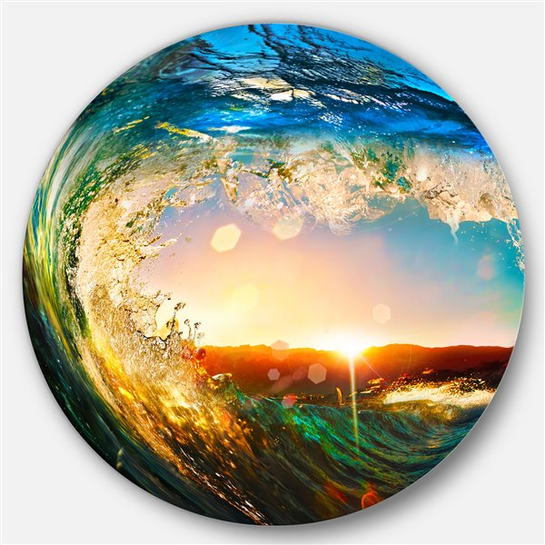 Designart Canada Ocean Waves 29-in Round Metal Wall Art