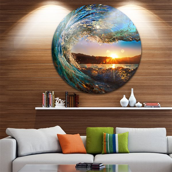 Designart Canada Ocean Waves 38-in Round Metal Wall Art