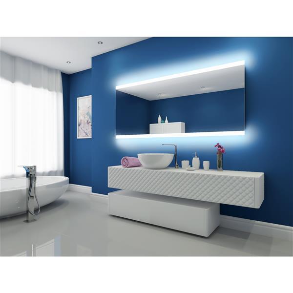"""Miroir à éclairage DEL intégré, 80""""x 35"""", 3000K, 24V"""