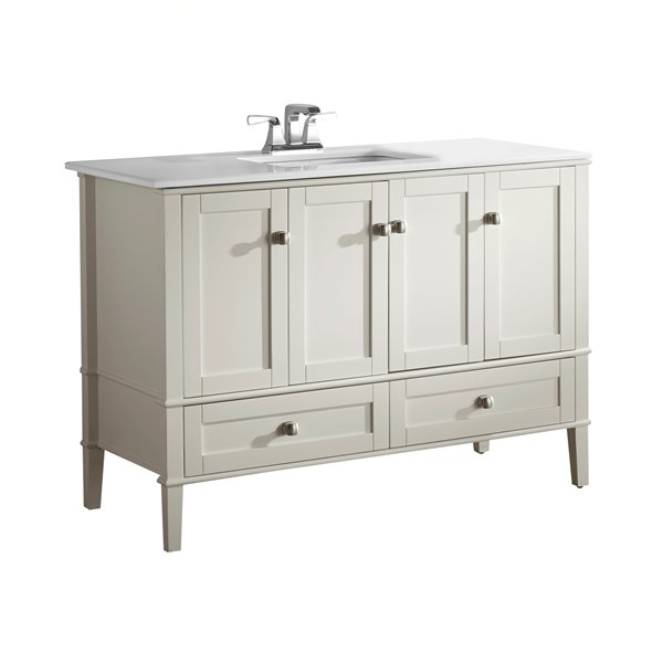 Simpli Home Chelsea 48 In Off White Bathroom Vanity With Marble Top Reno Depot