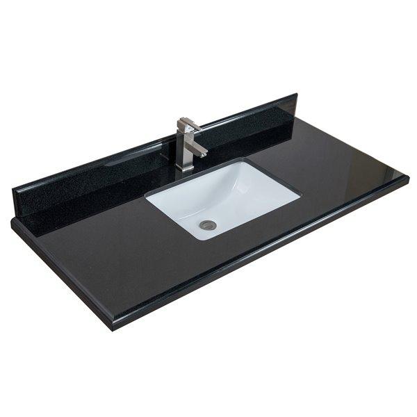GEF Comptoir vanité de salle de bain, 49 po. granit noir ...