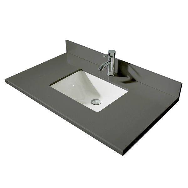 GEF Comptoir vanité de salle de bain, 37 po. Calypso gris en ...