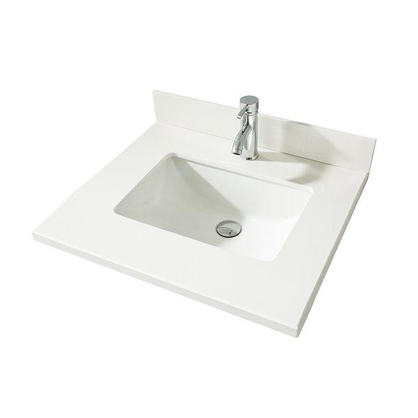 GEF Comptoir vanité de salle de bain, 25 po. Quartz blanc ...