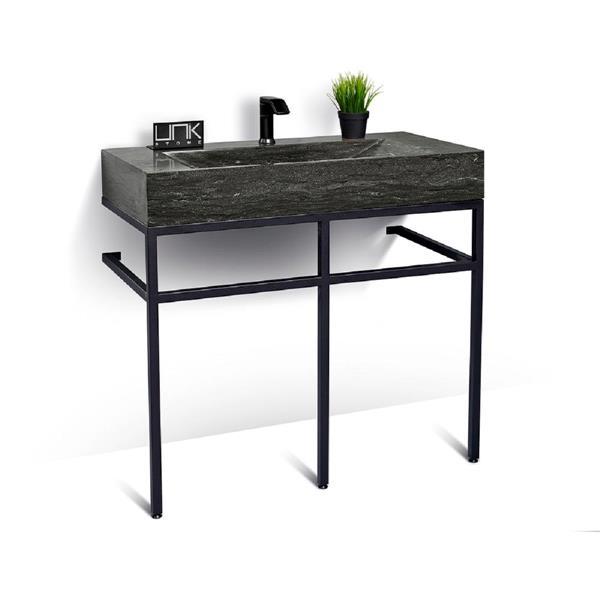 Classic 39-in Black Steel Bathroom Vanity with Limestone Top