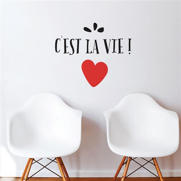 """Appliqué mural, """"C'est la vie"""", 1,7' x 2'"""
