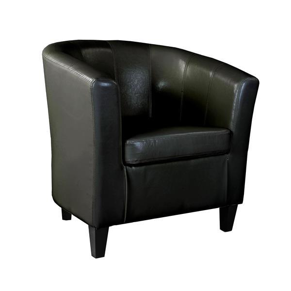 Fauteuil gondole Antonio de CorLiving, cuir lié, noir