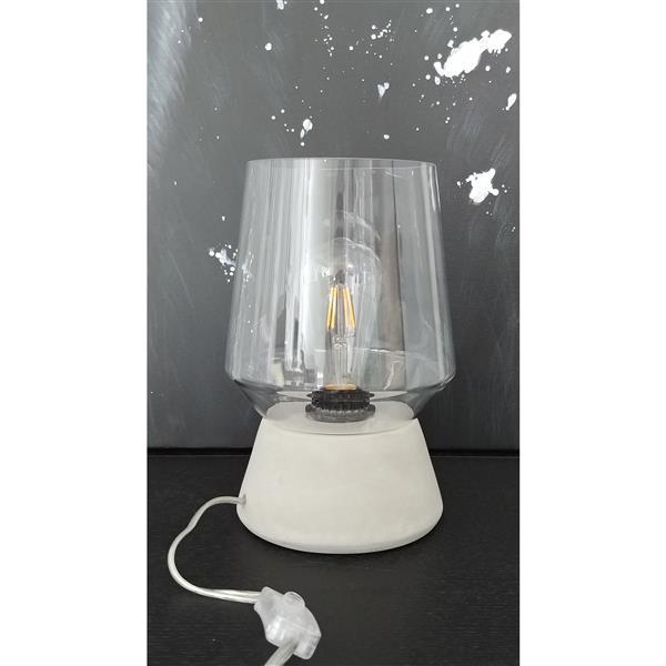Lampe de table Holly, verre, base en béton