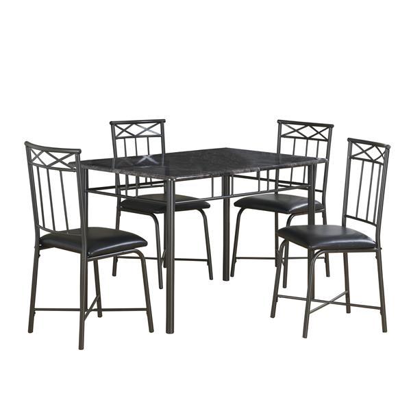 Ens. salle à manger Monarch, marbre gris, charbon,5 morceaux