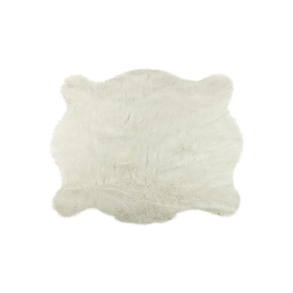 Tapis en fausse en peau de vache , 4,25' x 5', blanc