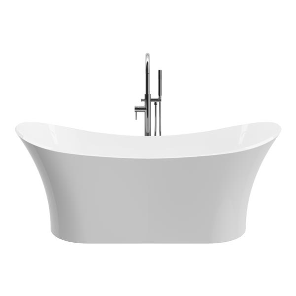 A&E Bath and Shower Evita 69-in Glossy White Freestanding Bathtub