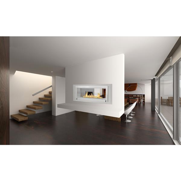 Foyer éthanol 2 côtés Santa Cruz, acier inoxydable, gris