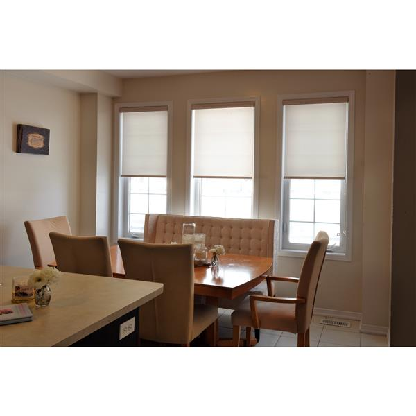 Sun Glow Motorized Privacy Roller Shade with Valance 34-in x 72-in Off-White