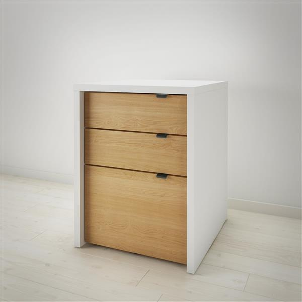Nexera Chrono White and Maple Filing Cabinet