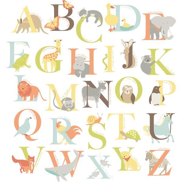 "Trousse d'art mural alphabet zoo WallPops,  39"" x 34,5"""