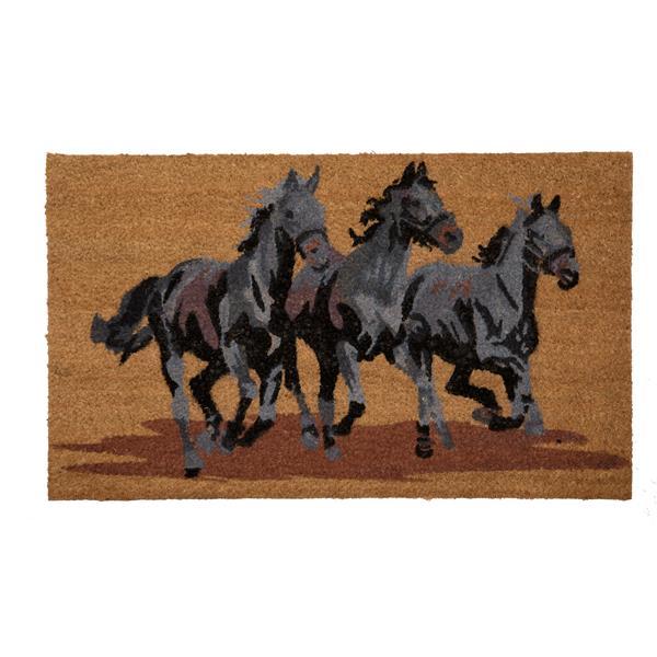 Technoflex 18-in x 30-in Three Horses Printed Coco Door Mat