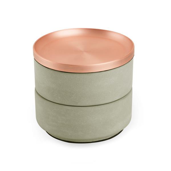 Umbra Tesora 4.25-in x 5-in x 5-in Concrete Copper Jewelry Box
