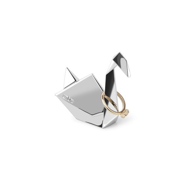 Umbra Origami 2.75-in x 1-in x 2.85-in Chrome Swan Jewelry Stand