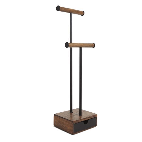 Umbra Pillar 21-in x 5-in x 6-in Black Walnut Jewelry Stand