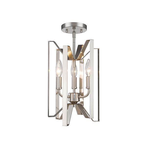 "Semi-plafonnier Marsala, 3 lumières, Nickel Brossé, 9""x14"""
