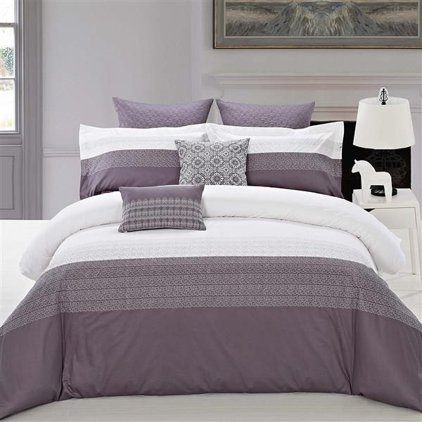 North Home Bedding Interlock Queen 7-Piece Duvet Cover Set