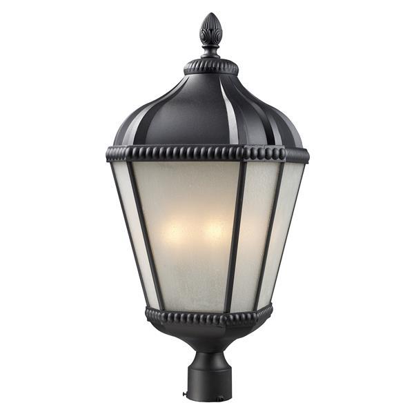 """Luminaire pour poteau extérieur Waverly, Noir, 13""""x27.75"""""""