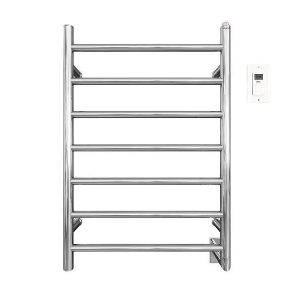 Ancona Comfort Chrome 7-Bar Towel Warmer and Drying Rack with Timer