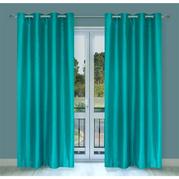 LJ Home Fashions Silkana Turquoise Faux Silk Grommet Panel Set