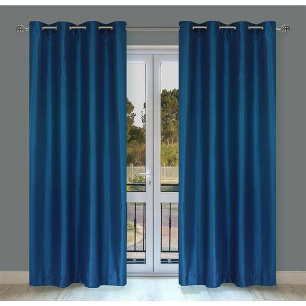 LJ Home Fashions Silkana Blue Faux Silk Grommet Panel Set