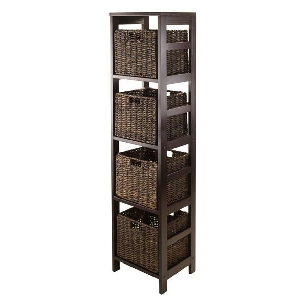 Winsome Wood Granville 55.80-in x 13.39-in x 11.22-in Espresso 4-Basket Storage Tower Shelf