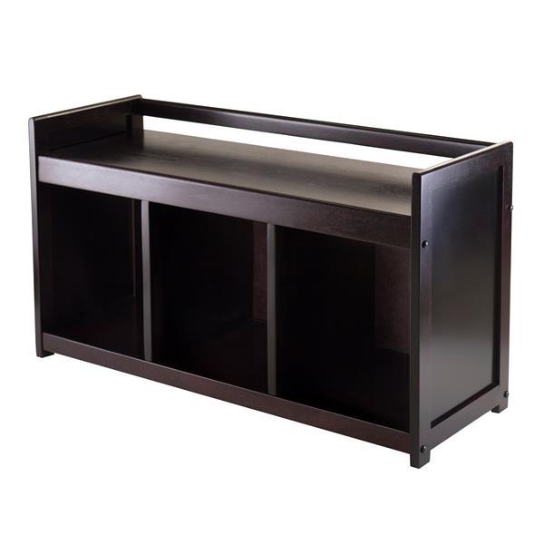Winsome Wood Simpli Home Adams 36-Lbs Heigth 20.87-In Length 37.40-In Depth 13.50-In Dark Espresso 3 Cubby Storage Indoor Bench