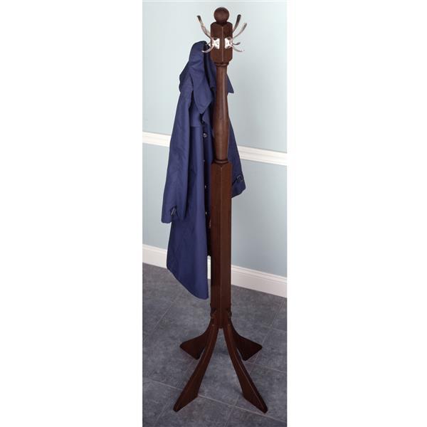 Winsome Wood Sherlock 73.8-in Walnut Wood 4 Hook Coat Tree