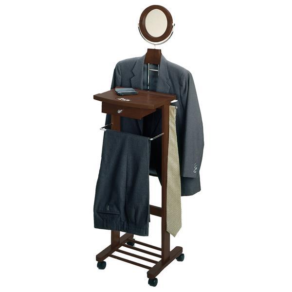 """Stand valet, miroir, 58"""", bois, noisette"""