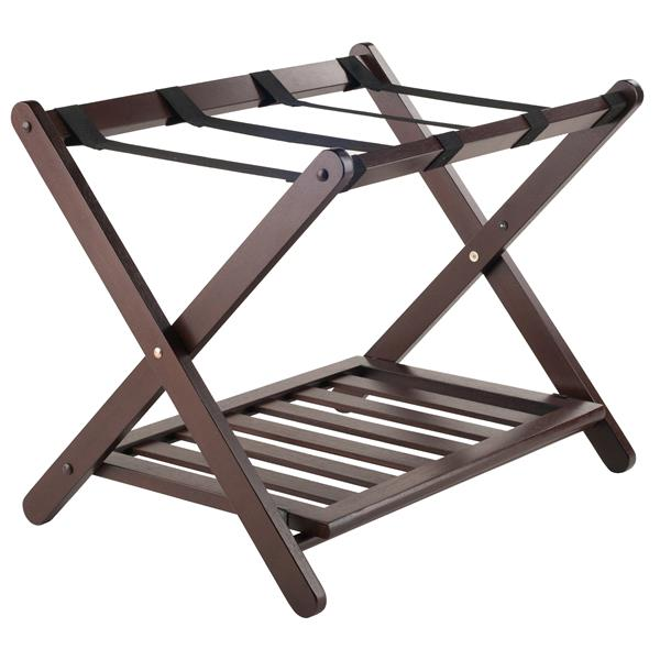 Winsome Wood Remy 20.00-In x 26.54-In Cappuccino Wood Luggage Rack With Shelf