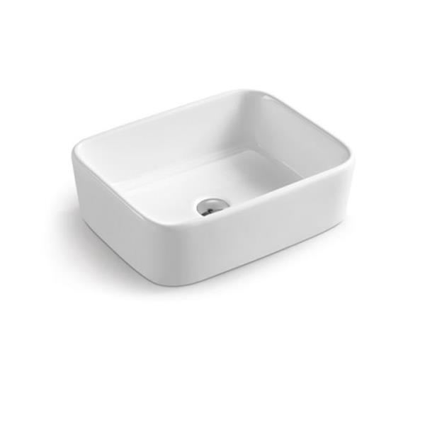 Luxo Marbre White Porcelain 19-in 1-hole Rectangular Sink