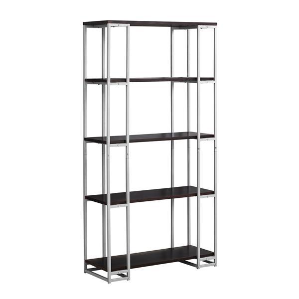 Monarch 62-in x 32-in x 12.50 Metal Cappacino Bookcase