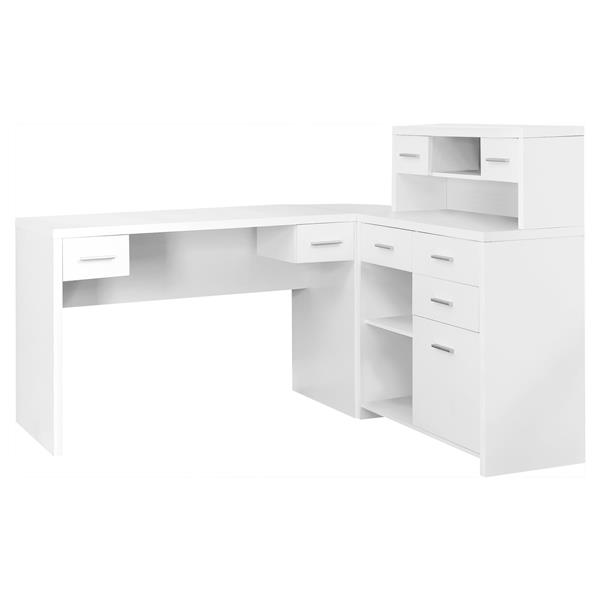 new product 156db ab83a Monarch Specialties 62.75-in x 44.75-in White L-Shaped Home Office Desk