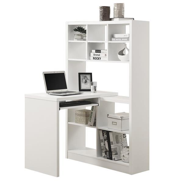 """Bureau d'ordinateur Monarch, 35,5"""" x 60"""", bois, blanc"""