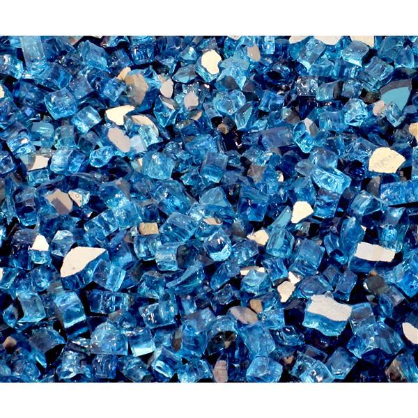 Paramount Reflective Fire Glass 40 Lbs. Luminous Catalina Blue Tempered Glass