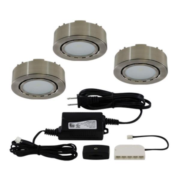 Liteline Corporation LED 3K 12V 2W Matte Nickel 3-Puck Light Kit