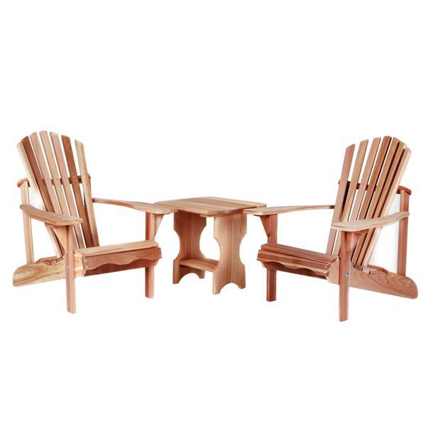 All Things Cedar 3 pc Natural Adirondack Chair Set