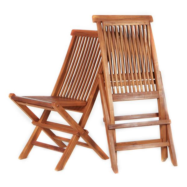 All Things Cedar Set of 2 Outdoor Teak Folding Chair