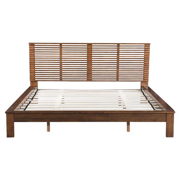 Zuo Modern Walnut 83-in x 85.5-in Linea Bed