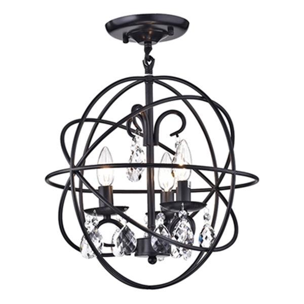 Warehouse of Tiffany Rosanna 18-in x 16-in Black 3-Light Crystal Pendant Lamp