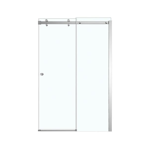 Maax Luminescence Clear 47-in x 71-in Brushed Nickel Shower Door
