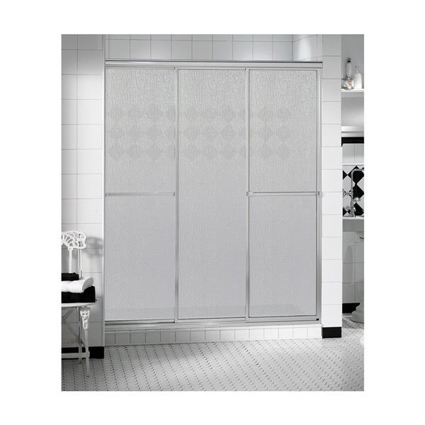 MAAX TriplePlus 53-55-in x 66-in Shower Door in Polished Chrome/Raindrop