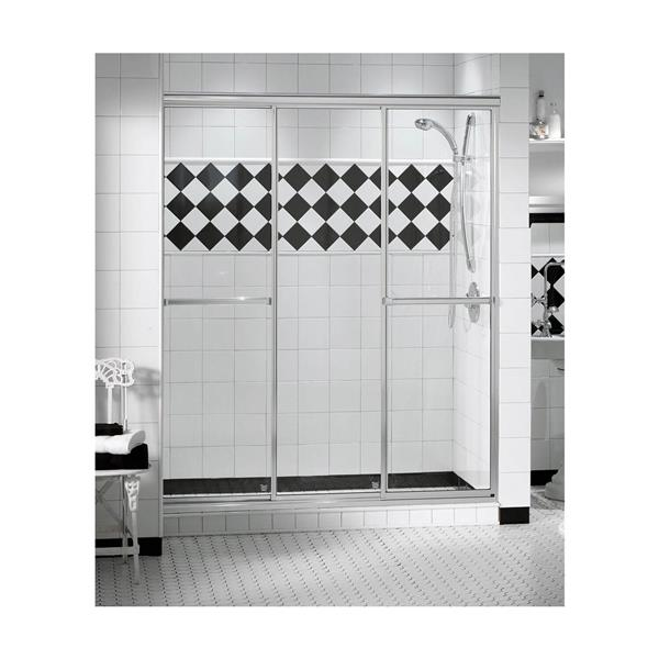 TriplePlus 41-43 po x 69 po porte de douche en chrome clair